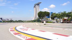 SINGAPORE - APR 2nd 2015: Formula One Racing track at Marina Bay Street Circuit. The symbol of Formula One Racing once a. Year around Marina Bay, attracted more royalty free stock photo