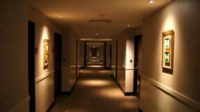 SINGAPORE - APR 2nd 2015: passage way, path, passageway, hallway, aisle in a luxury hotel Stock Photo