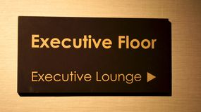 SINGAPORE - APR 2nd 2015: Sign to Executive Lounge in a luxury hotel Stock Photography