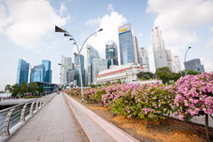 SINGAPORE - APRIL 23: A road leads into the commercial center o Royalty Free Stock Photo