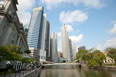 SINGAPORE - APRIL 23: Office towers rise at the banks of the ri Stock Image