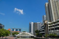 Singapore, April 2017: The Central Financial District of Singapore. Modern buildings of Singaporean financial district Royalty Free Stock Photography