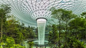 Singapore - April 20, 2019 : Jewel Changi Aiport connecting to Terminal 1 Arrival and Terminal 2,3 through linked. Singapore,Singapore - April 20, 2019 : Jewel stock image
