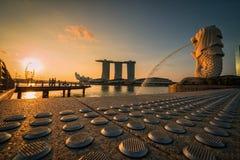 SINGAPORE-APRIL 30, 2018: Merlion statue fountain in Merlion Par Royalty Free Stock Photos