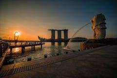 SINGAPORE-APRIL 30, 2018: Merlion statue fountain in Merlion Par Royalty Free Stock Photo