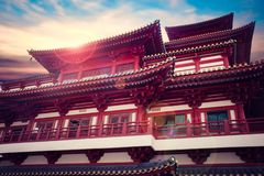 Outside Buddha Tooth Relic Temple and Museum, It is Chinese style architecture and flare on roof of temple. stock photo