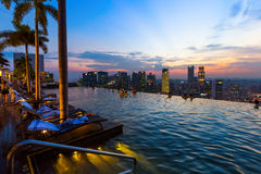 SINGAPORE - APRIL 14: Pool on roof and Singapore city skyline on Stock Photo
