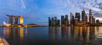 SINGAPORE - APRIL 15: Singapore city skyline and Marina Bay on A Royalty Free Stock Photo