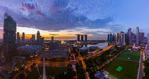 SINGAPORE - APRIL 16: Singapore city skyline and Marina Bay on A Stock Photo