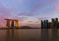 SINGAPORE - APRIL 15: Singapore city skyline and Marina Bay on A Stock Photo