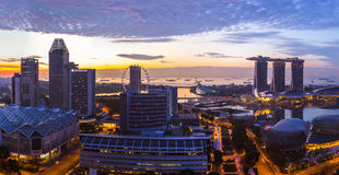 SINGAPORE - APRIL 16: Singapore city skyline and Marina Bay on A Stock Photo