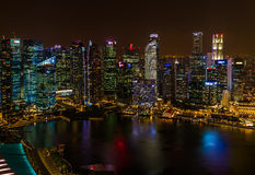 SINGAPORE - APRIL 14: Singapore city skyline and Marina Bay on A Royalty Free Stock Images