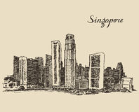 Singapore architecture hand drawn sketch Royalty Free Stock Image