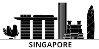 Singapore architecture vector city skyline. Black cityscape with landmarks, isolated sights on background vector illustration