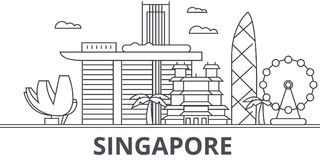 Singapore arkitekturlinje horisontillustration Linjär vektorcityscape med berömda gränsmärken, stadssikt, design stock illustrationer