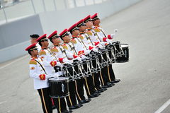 Singapore Armed Forces (SAF) band drummers performing during National Day Parade (NDP) Rehearsal 2013 Stock Photography