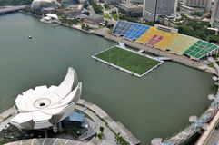 Singapore Art Science Museum & Floating Stadium. View from the Top of Marina Bay Sands Resort Hotel Stock Images