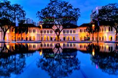 Singapore Arts Museum. Taken with the reflection caused by a water feature. Below the water feature is the train station Stock Photography