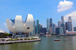 Singapore ArtScience Museum and City Skyline Stock Photography