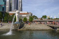Merlion Park is a Singapore landmark and major tourist attraction, Singapore stock images