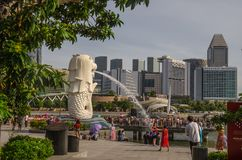 Merlion Park is a Singapore landmark and major tourist attraction, Singapore stock photography