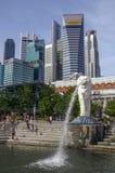 Merlion Park is a Singapore landmark and major tourist attraction, Singapore stock photo