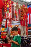 Souvenirs displayed at gift stall, Chinatown, Singapore. Singapore, Asia - December 15, 2018: Souvenirs displayed at market gift stall in shopping area royalty free stock photography