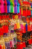 Souvenirs displayed at gift stall, Chinatown, Singapore. Singapore, Asia - December 15, 2018: Souvenirs displayed at market gift stall in shopping area royalty free stock image