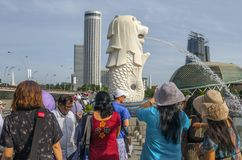 Tourists and visitors at Merlion Park. Singapore royalty free stock photography