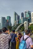 Tourists and visitors at Merlion Park. Singapore royalty free stock photos