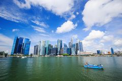 Central business district building of Singapore city with blue s Royalty Free Stock Images