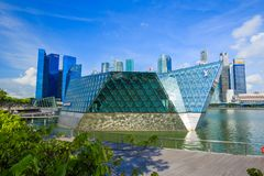 The futuristic building of Louis Vuitton store in Marina Bay Fro Stock Images