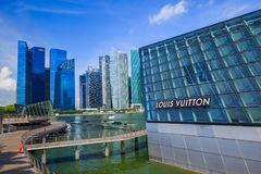 The futuristic building of Louis Vuitton store in Marina Bay Fro Stock Image