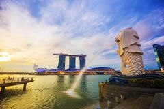 Merlion statue fountain in Merlion Park with sunrise, Singapore Stock Images