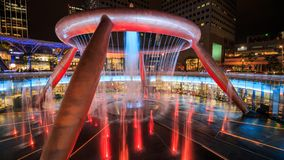 Light show at the Fountain of Wealth, it is the famous place in Suntec City, Singapore stock footage