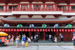 Unidentified people visited The Buddha Tooth Relic temple, Singa Royalty Free Stock Images