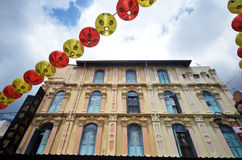 Bustling street of Chinatown district in Singapore Royalty Free Stock Images
