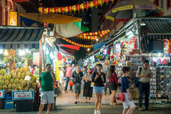 Singapore Chinatown food street. SINGAPORE - AUGUST 11: Singapore Chinatown food street on August 11, 2017 royalty free stock image