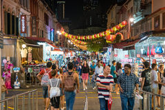 Singapore Chinatown food street. SINGAPORE - AUGUST 11: Singapore Chinatown food street on August 11, 2017 stock photography