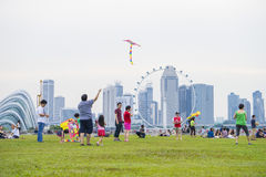 SINGAPORE - August 6: Kite festival, a gathering for kite enthusiast at Marina Barrage August 6, 2016 in Singapore royalty free stock image
