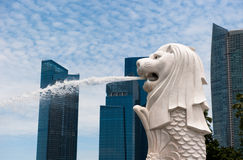 SINGAPORE - August, 22, 2010:  Merlion statue, Singapore Royalty Free Stock Photography