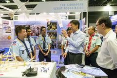 Minister Ng Chee Meng visiting booths at the Aviation Open House Royalty Free Stock Photo