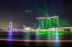 SINGAPORE -29 August 2016: The most beautiful laser show at Marina Bay Front in Singapore. Royalty Free Stock Image