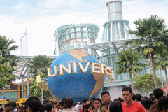 Singapore -August 09 2013 : People visiting Universal studios in Stock Photos
