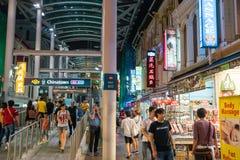 Singapore Chinatown food street. SINGAPORE - AUGUST 11: Singapore Chinatown food street on August 11, 2017 stock photo