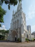 St Andrew`s Cathedral, Singapore. Singapore - August 20 2018: St Andrew`s Cathedral is an Anglican cathedral in Singapore, the country`s largest cathedral. It is royalty free stock photography