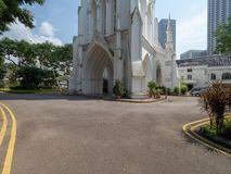 St Andrew`s Cathedral, Singapore. Singapore - August 20 2018: St Andrew`s Cathedral is an Anglican cathedral in Singapore, the country`s largest cathedral. It is royalty free stock image