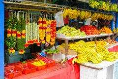 Stall of flowers and fruits royalty free stock photography