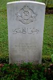 Tombstone of Pakistani soldier from Baloch Regiment in British Indian Army at Kranji Cemetery Singapore Stock Image