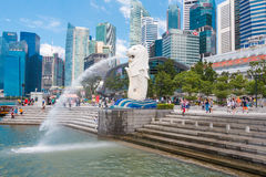 Singapore-Augusti 15, 2016 den Merlion springbrunnen i Singapore royaltyfri bild